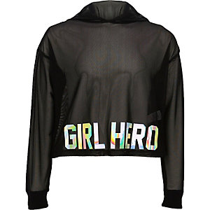 Girls black mesh 'girl hero' cropped hoodie