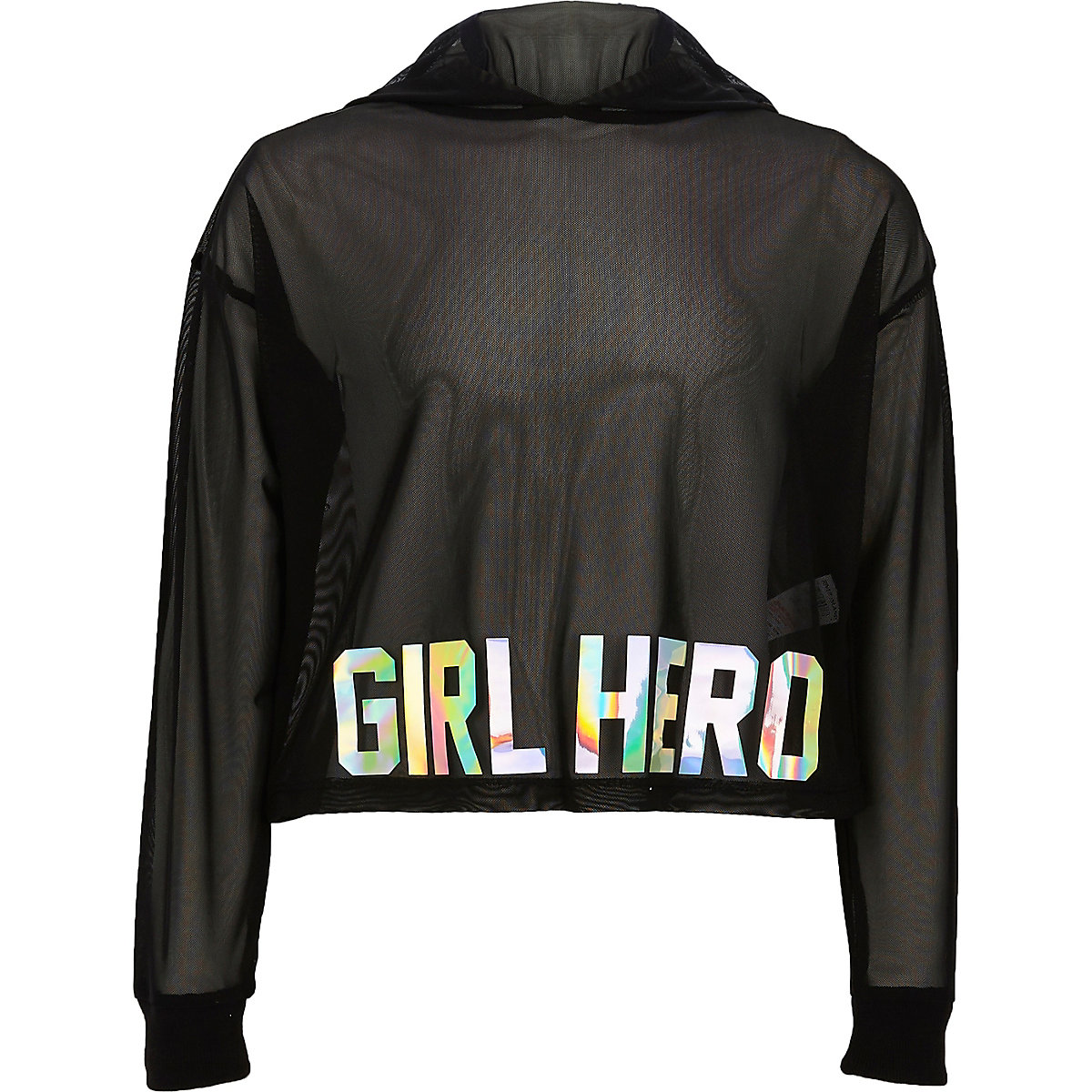 Sweat court « girl hero » en tulle noir à capuche pour fille