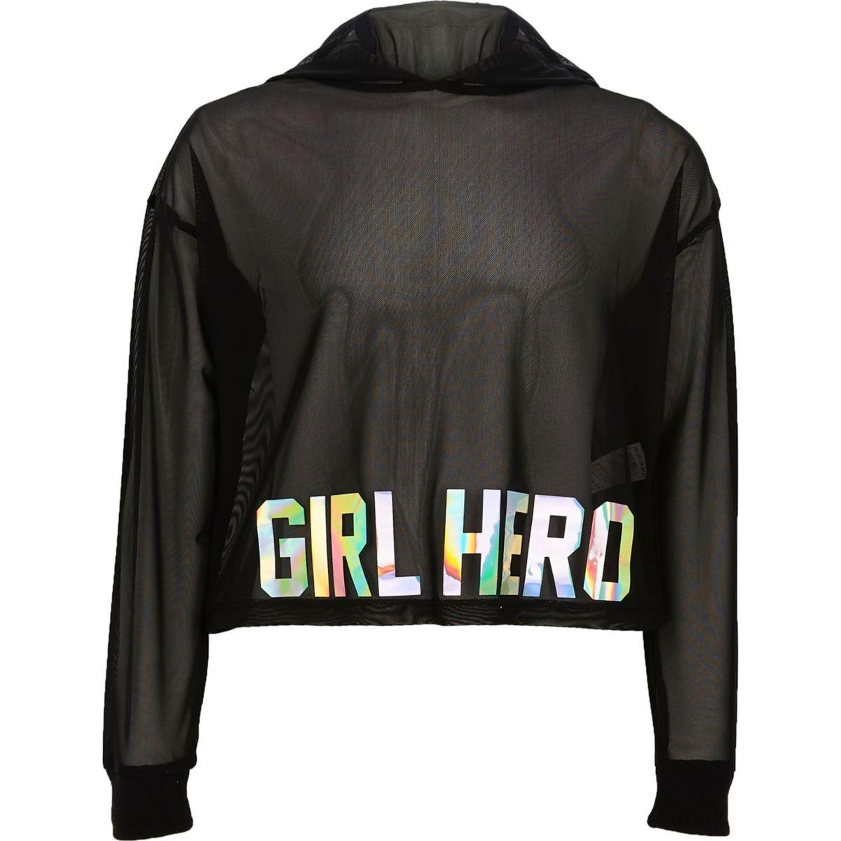 Girls black mesh 'girl hero' cropped hoodie