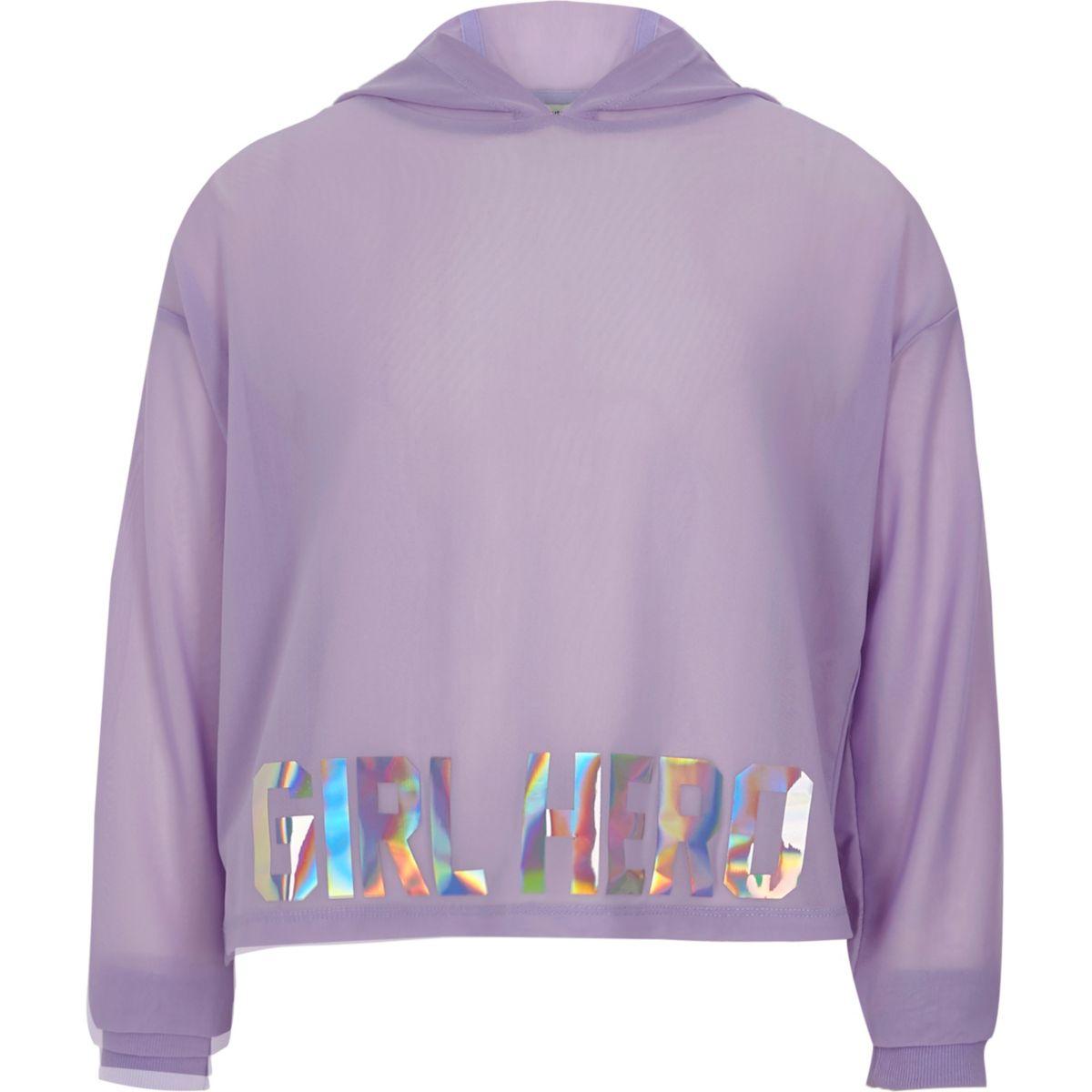 Girls purple mesh 'girl hero' cropped hoodie