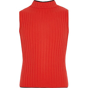 Girls red rib turtle neck tank top