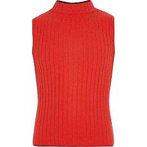 Girls red rib turtle neck tank top