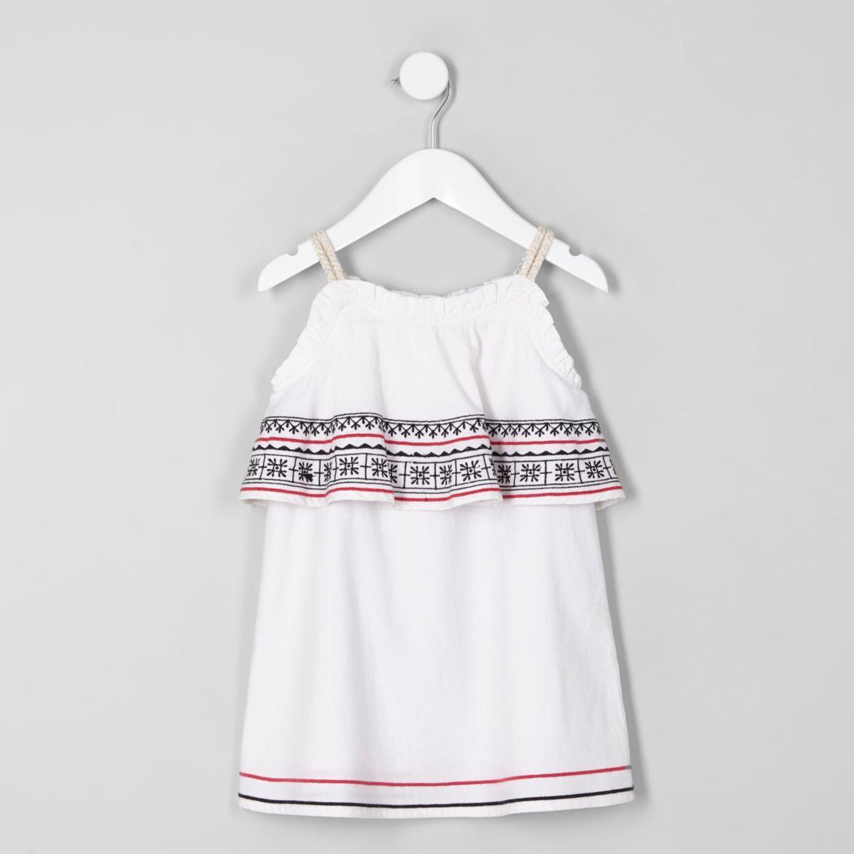 Mini girls white embroidered trapeze dress