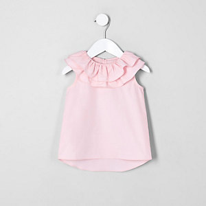 Mini girls pink double clown collar top