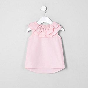 Mini - Roze top met dubbele geplooide kraag voor meisjes
