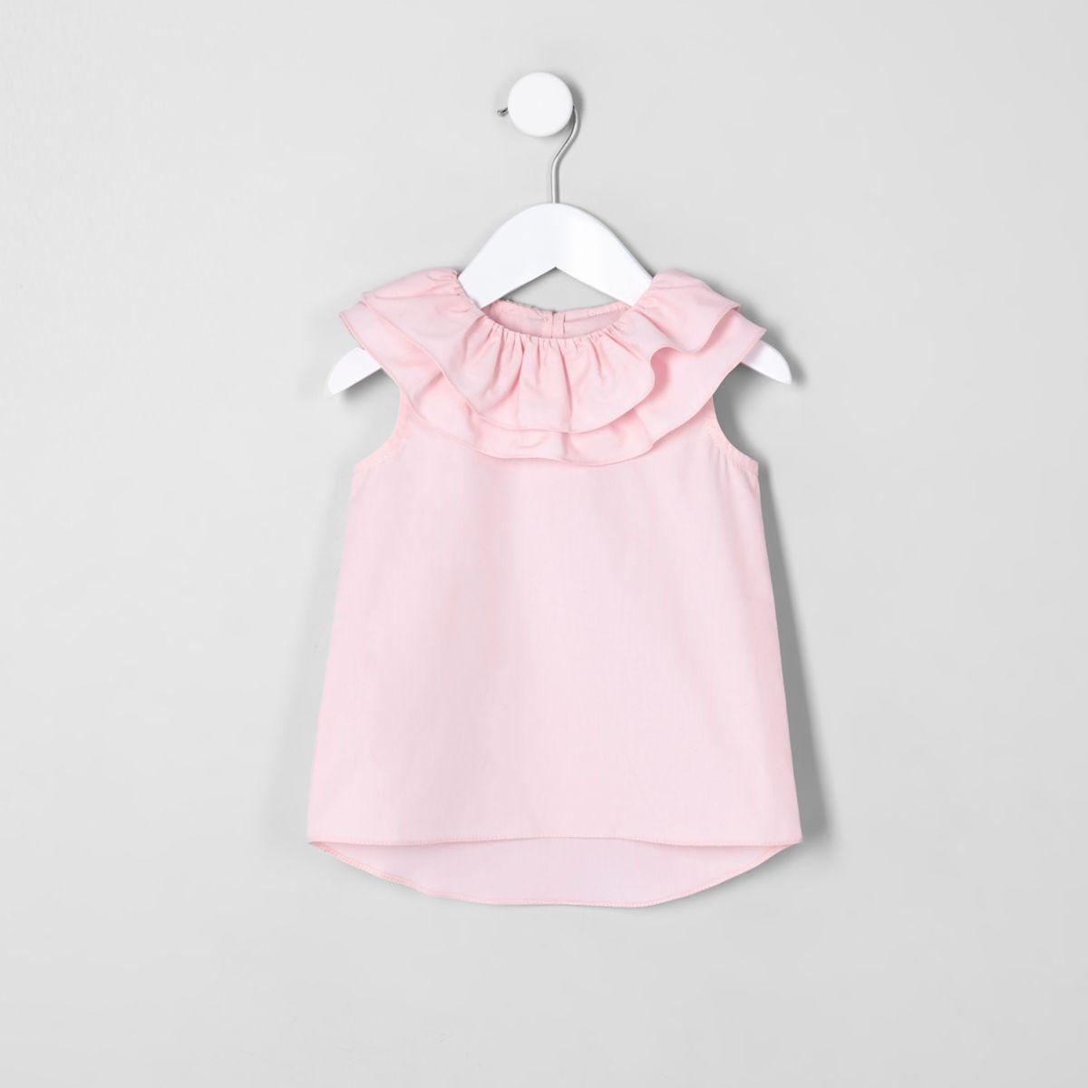 Mini girls pink clown collar sleeveless top