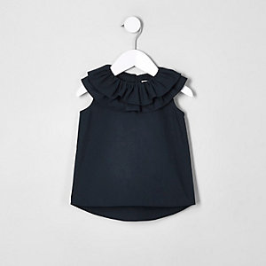 Mini girls navy clown collar sleeveless top