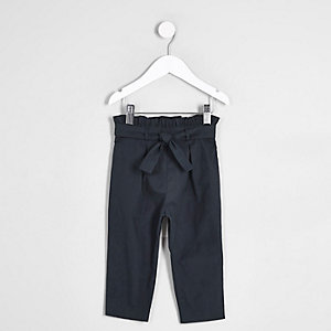 Mini girls navy paperbag trousers