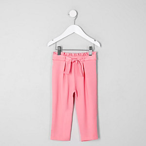 Mini girls pink paperbag tapered trousers