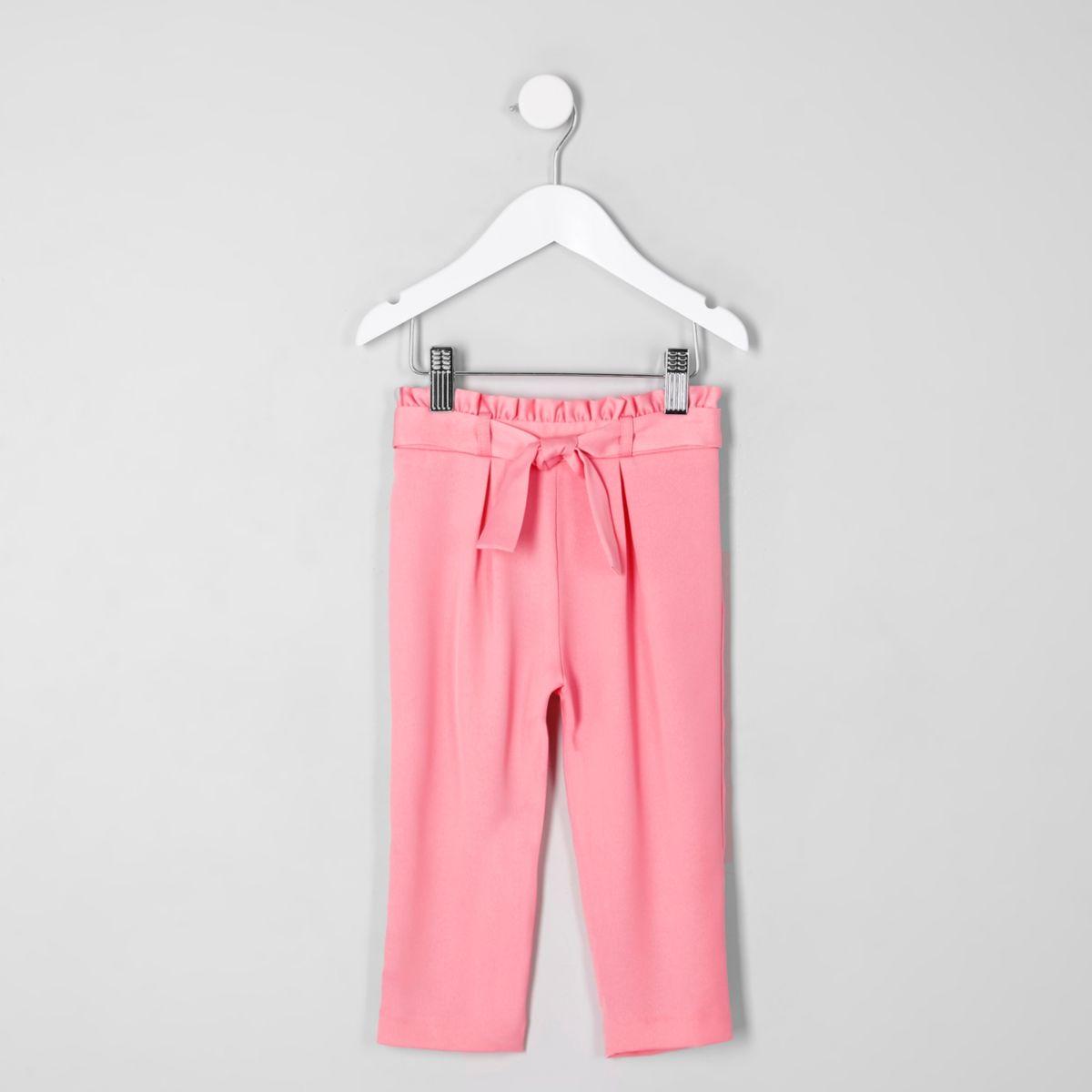 Mini girls pink paperbag tapered pants