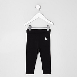 Mini girls black folded waistband leggings