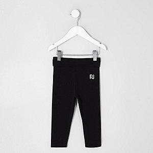 Mini - Zwarte legging met omgeslagen tailleband voor meisjes