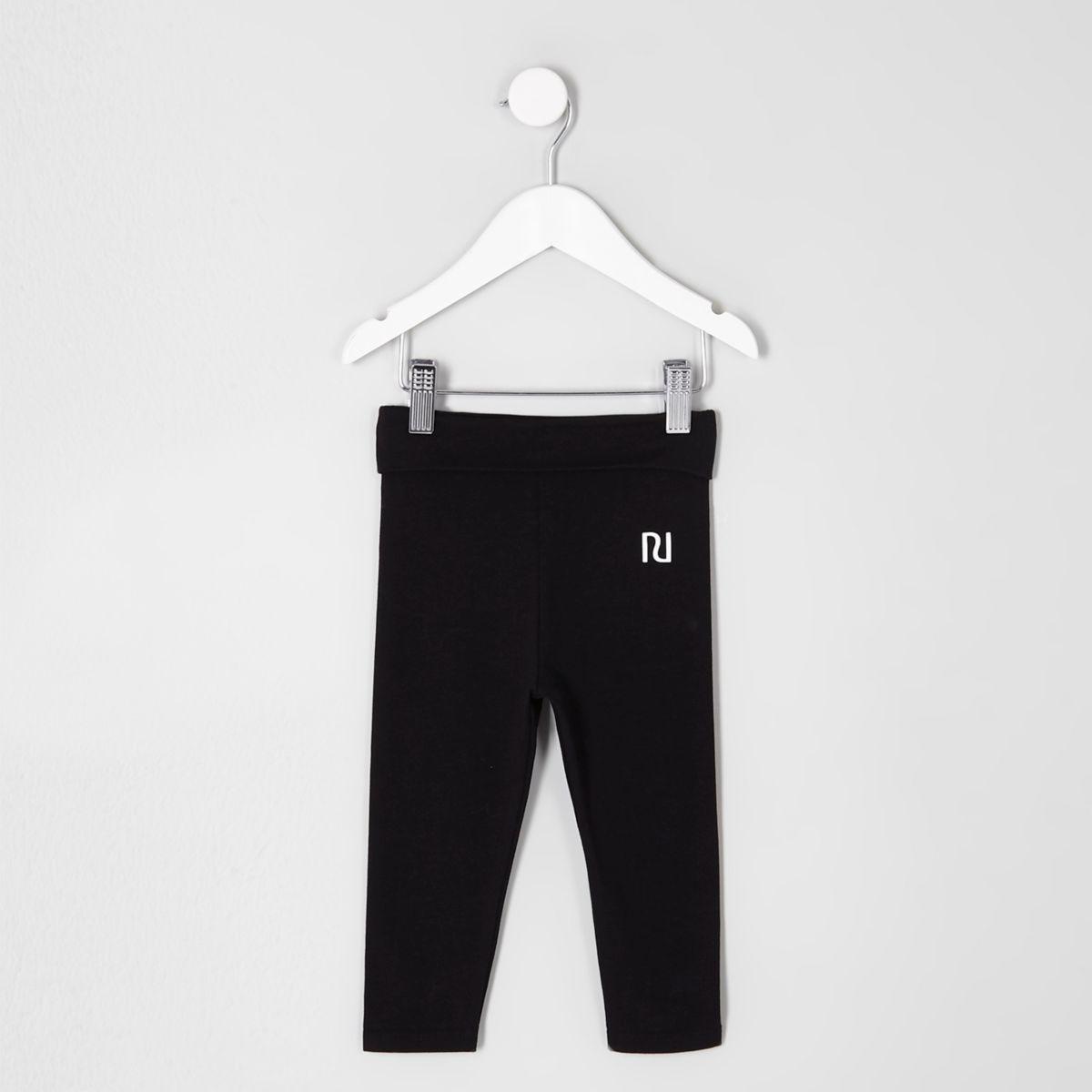 Mini girls black folded waistband leggings