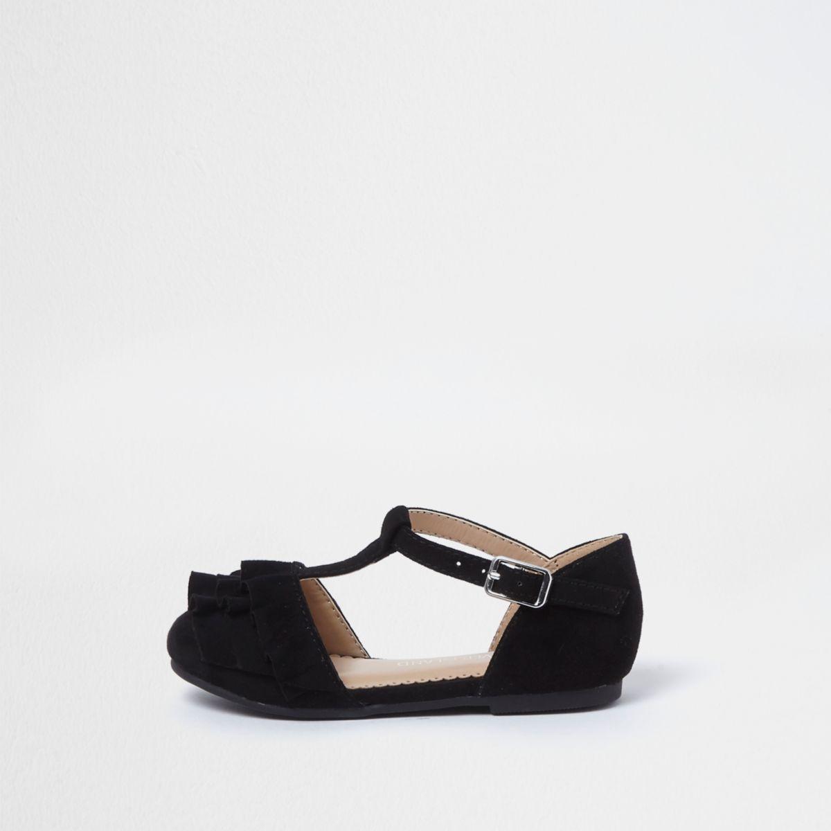 Mini girls black ruffle T-bar ballet shoes