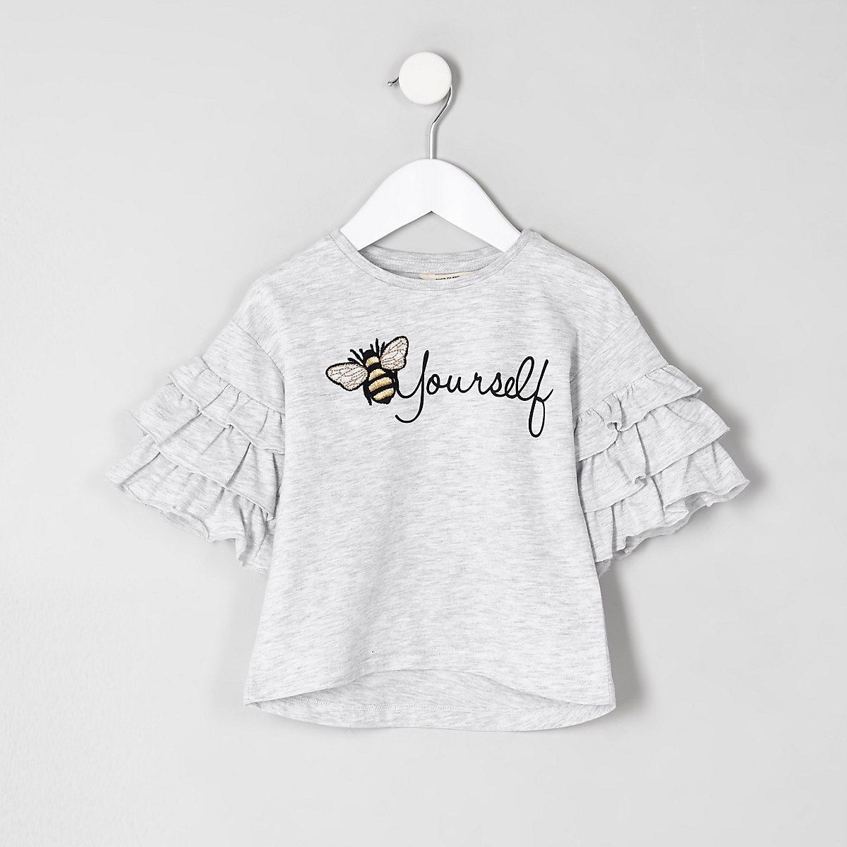 Mini girls grey bee embroidered T-shirt