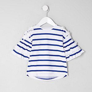 T-shirt rayé blanc à volants mini fille