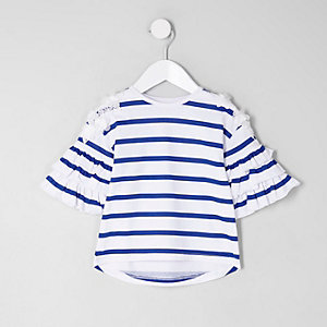 Wit gestreept gelaagd T-shirt met ruches aan de mouwen voor meisjes