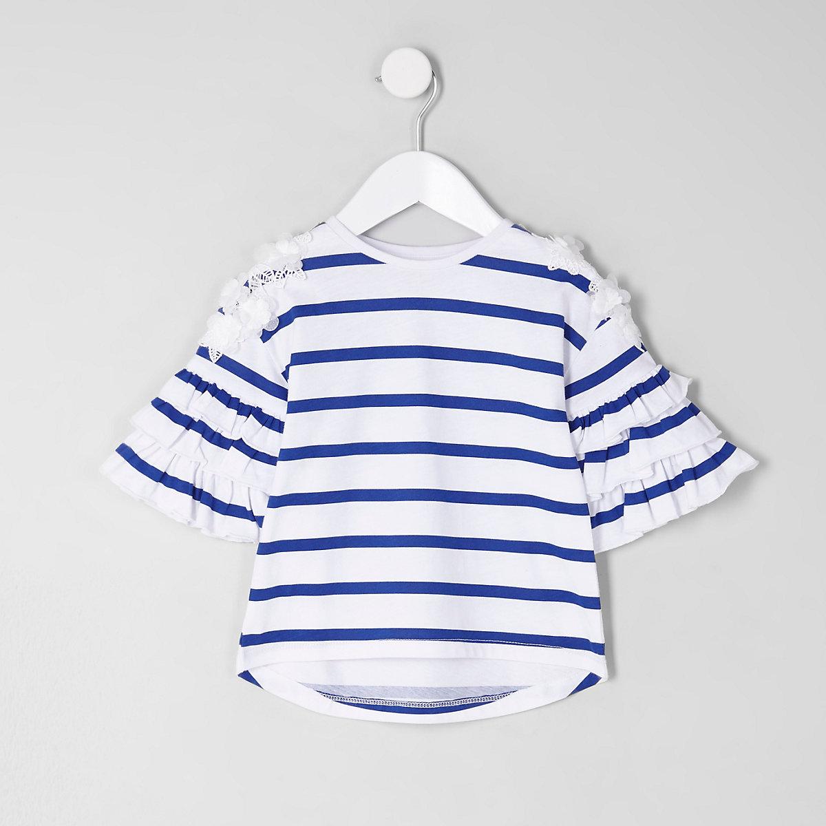 Mini girls white stripe tier frill T-shirt