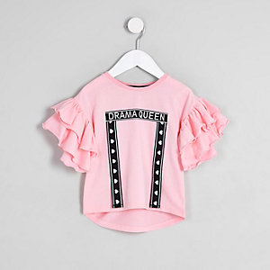 Mini girls pink 'drama queen' T-shirt