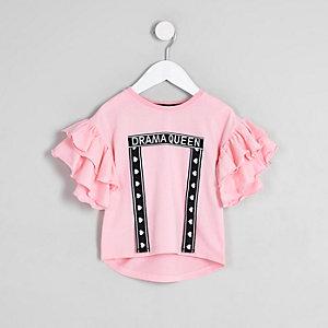 Mini - Roze T-shirt met 'drama queen'-print voor meisjes