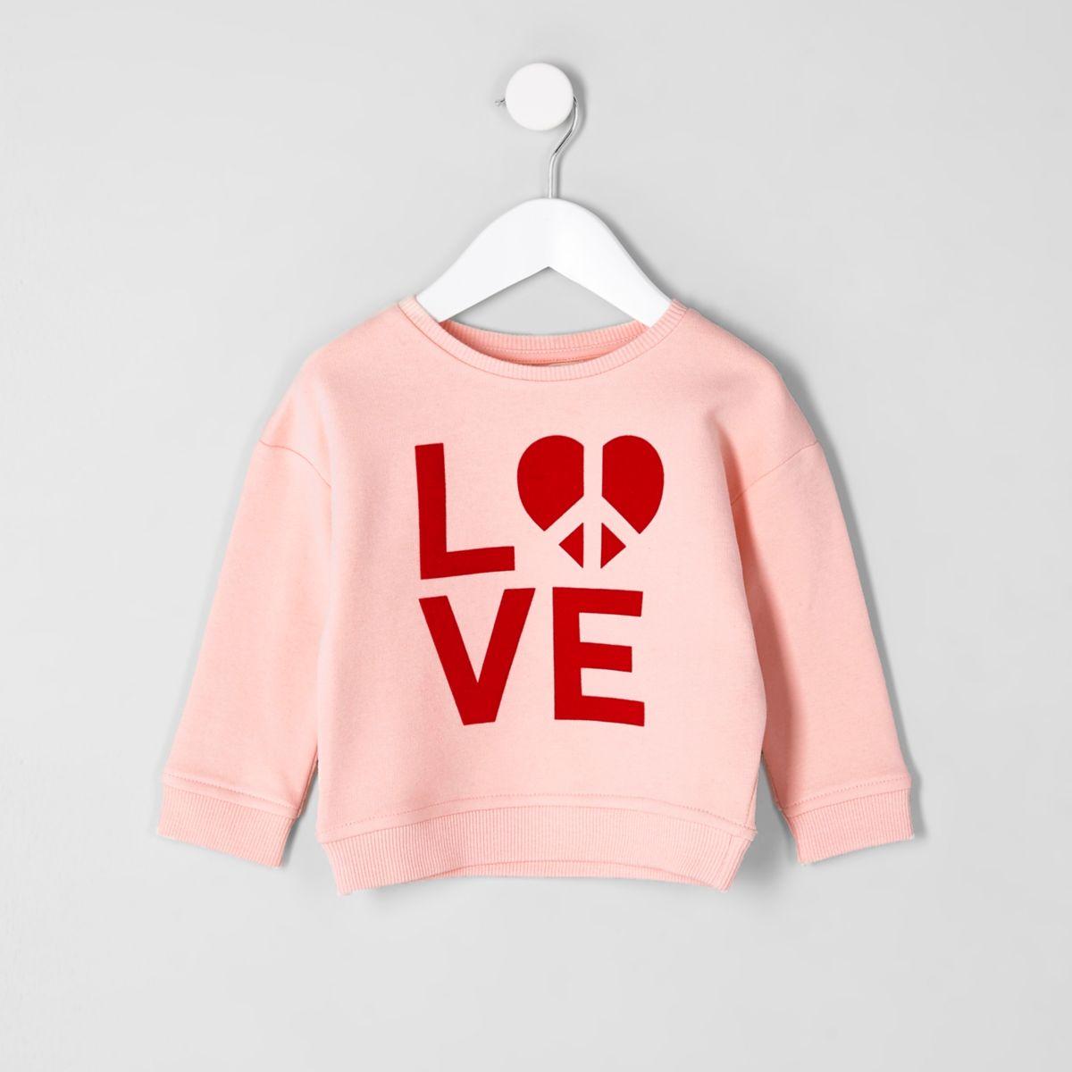 Mini girls pink 'love' flock print sweatshirt