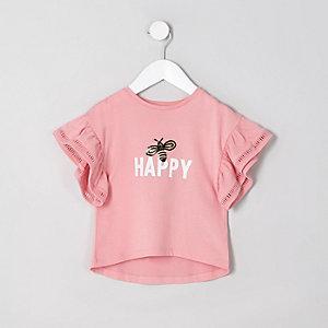 Mini - Koraalrood T-shirt met ruches aan de mouwen en 'happy'-print voor meisjes