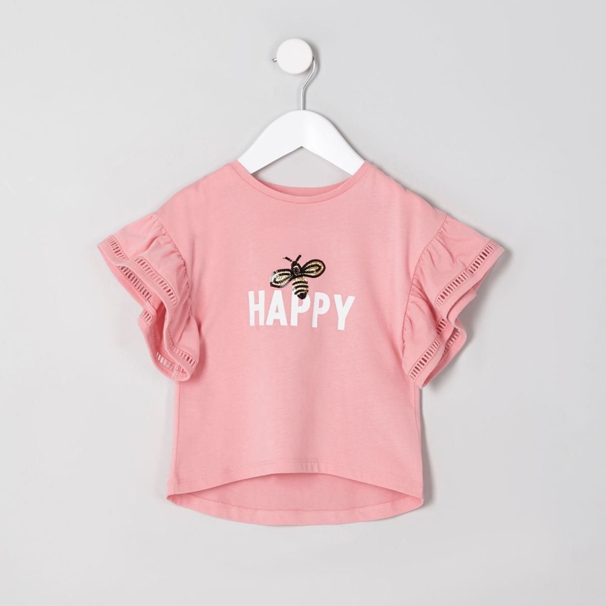 Mini girls coral 'happy' frill sleeve T-shirt