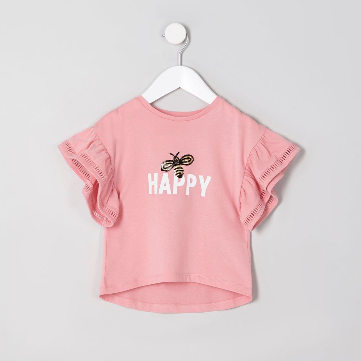 """Korallenrotes T-Shirt """"Happy"""" mit Rüschenärmeln"""