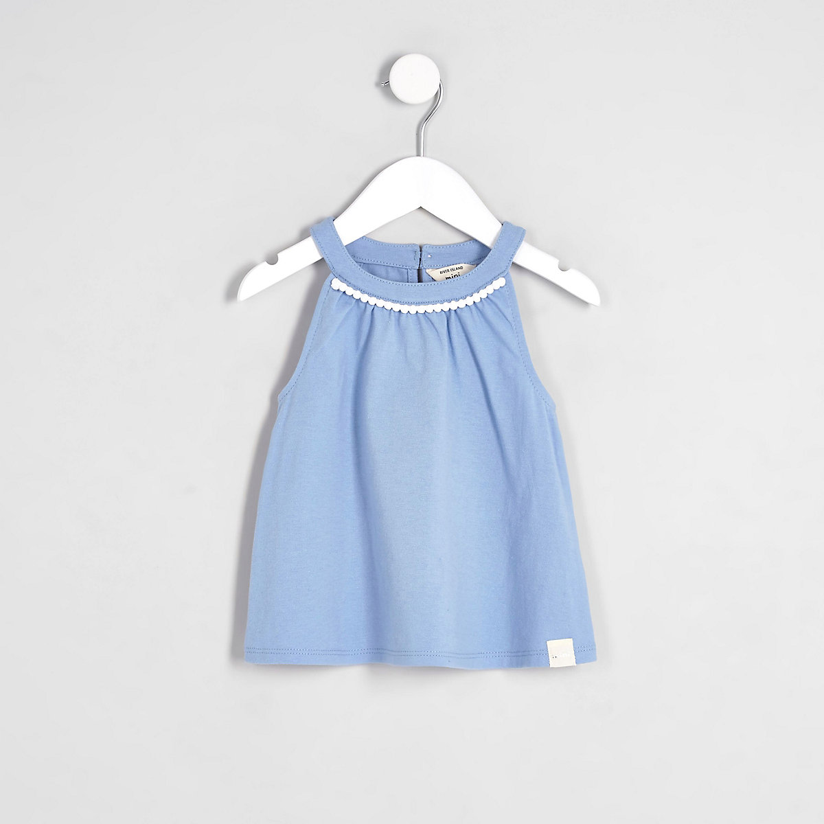 Mini girls blue trapeze top