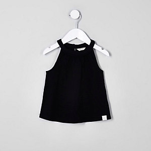 Mini girls black trapeze top