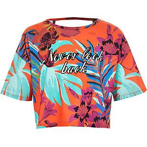 Girls orange tropical print crop top
