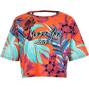 Girls orange tropical print crop top