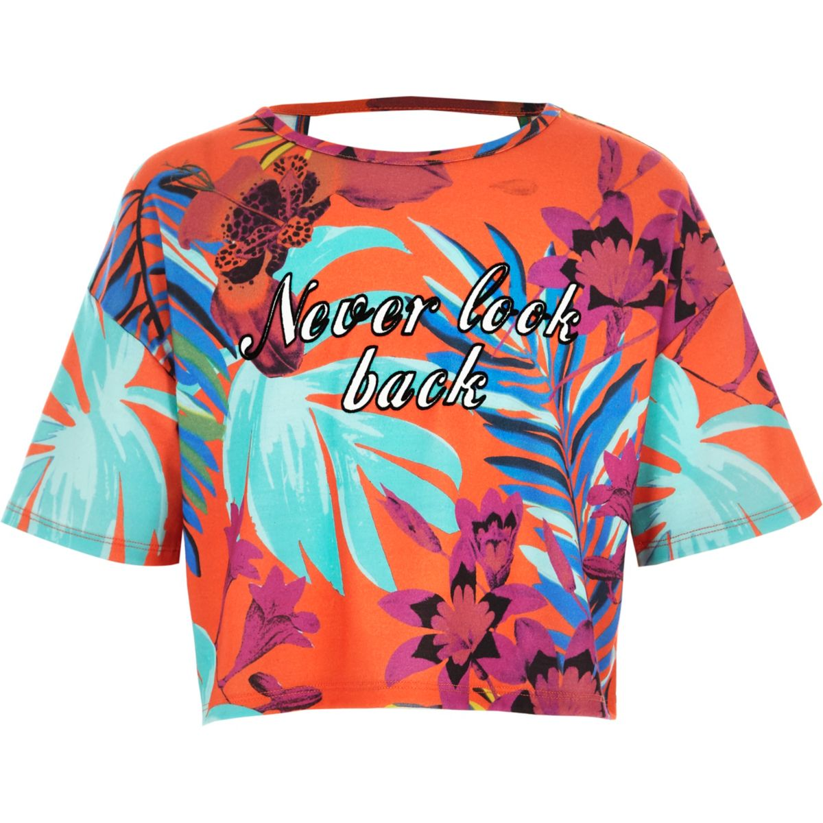 Crop top imprimé tropical orange pour fille