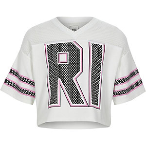 RI – T-shirt universitaire blanc à empiècements en tulle pour fille