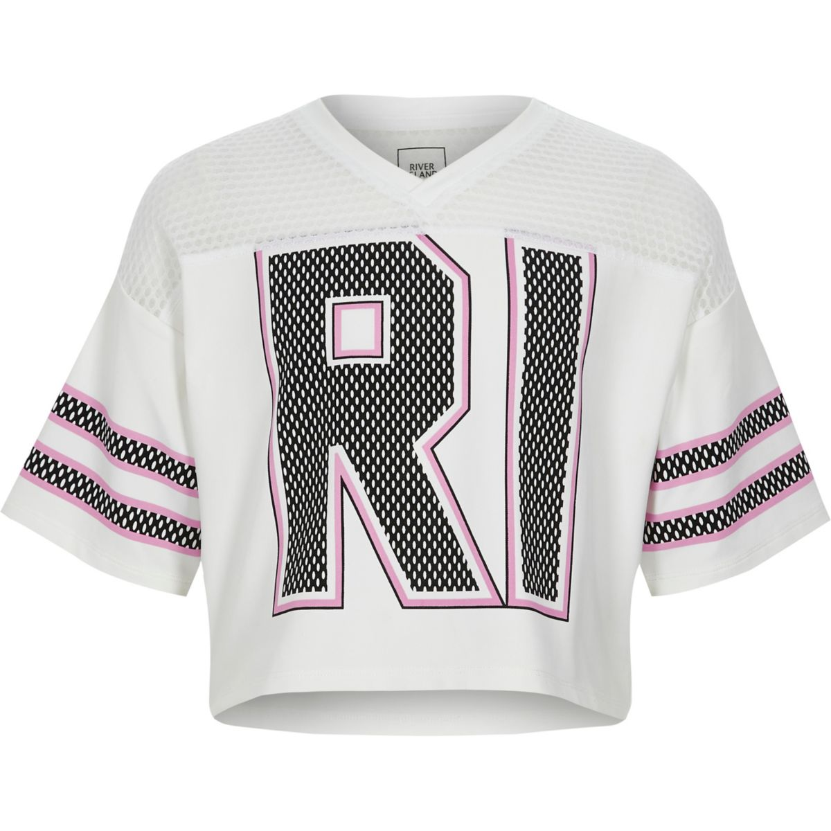 Girls white mesh insert RI varsity T-shirt