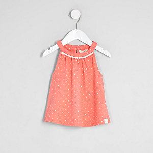 Mini girls pink pom pom trim trapeze top