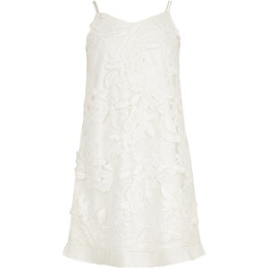 Girls white lace floral trapeze dress