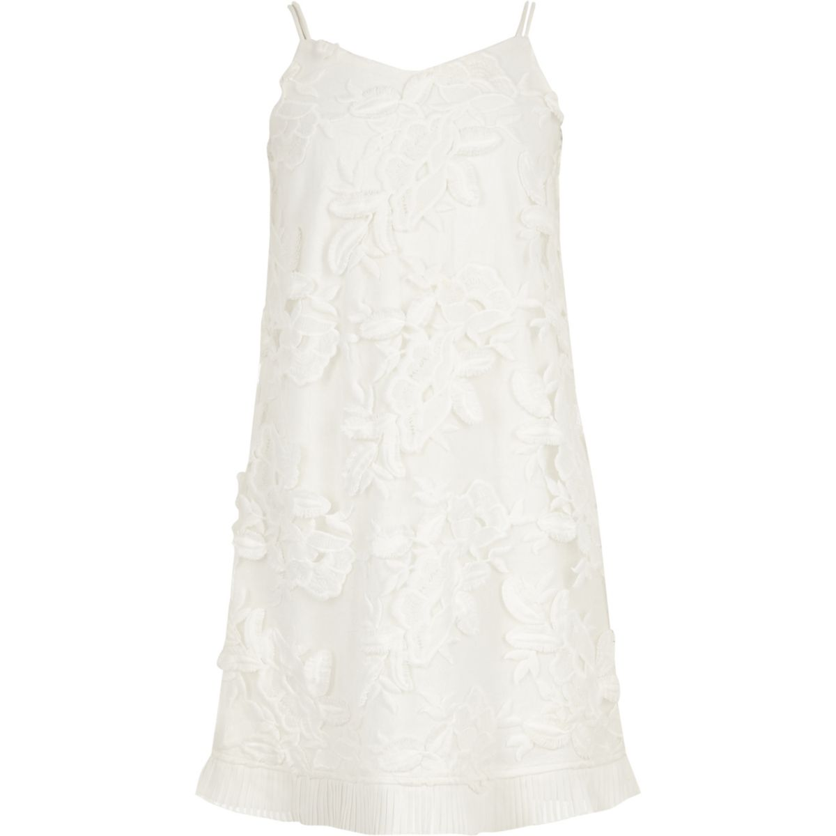 Girls white lace floral trapeze dress