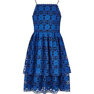 Blauwe gelaagde kanten jurk met bloemenprint voor meisjes