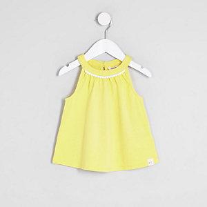 Top trapèze jaune pour mini fille