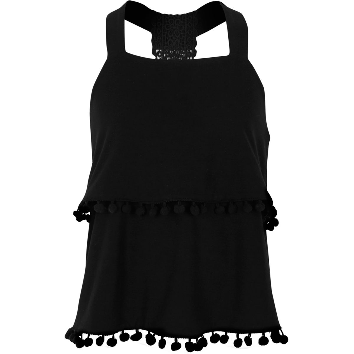 Girls black lace back double layer cami top