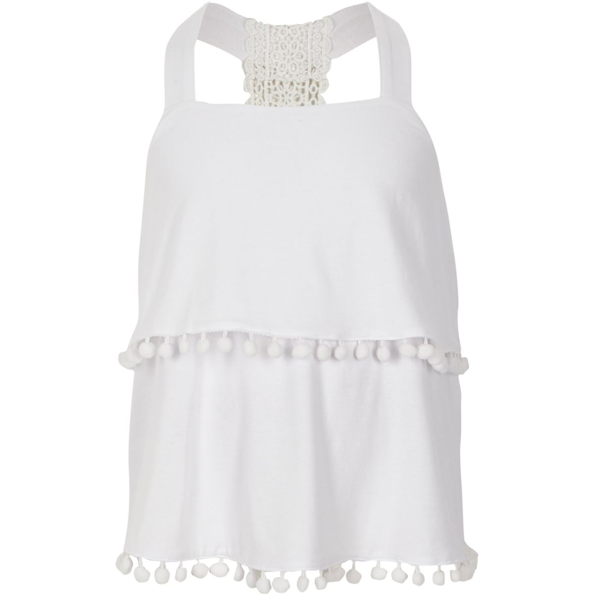 Girls white lace back double layer cami top