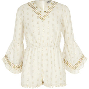 Girls beige gold embellished playsuit
