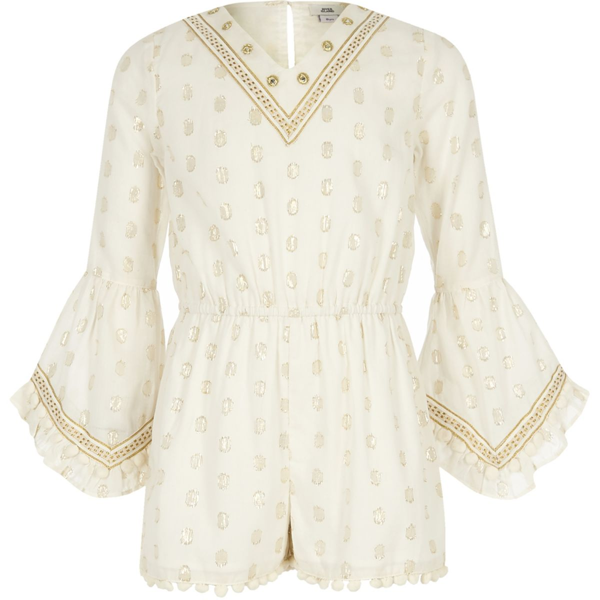 Girls beige gold embellished playsuit