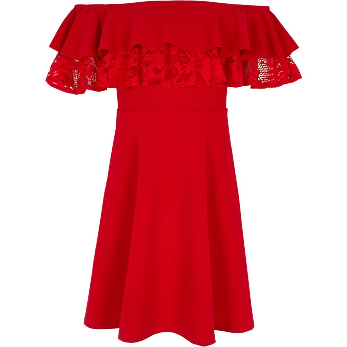 Girls red double ruffle lace bardot dress
