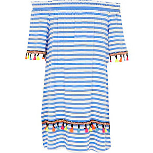 Girls blue stripe bardot trapeze dress