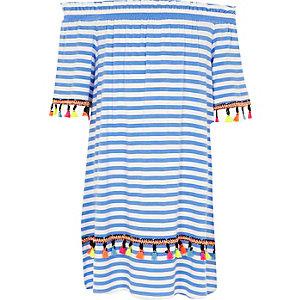 Blauwe gestreepte bardotjurk met A-lijn voor meisjes