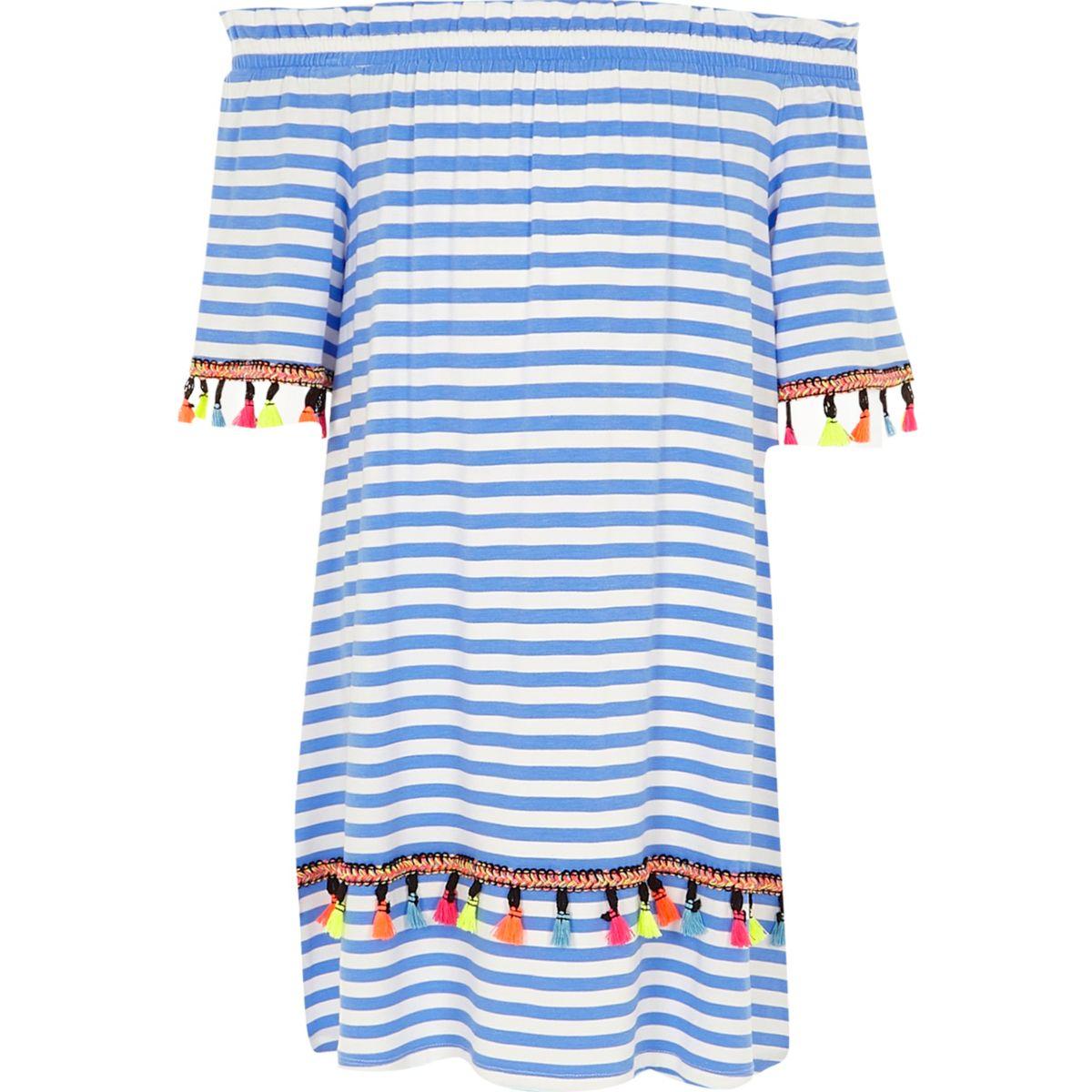 Robe trapèze Bardot rayée bleue pour fille
