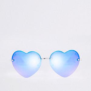 Lunettes de soleil verres effet miroir cœurs bleus pour fille