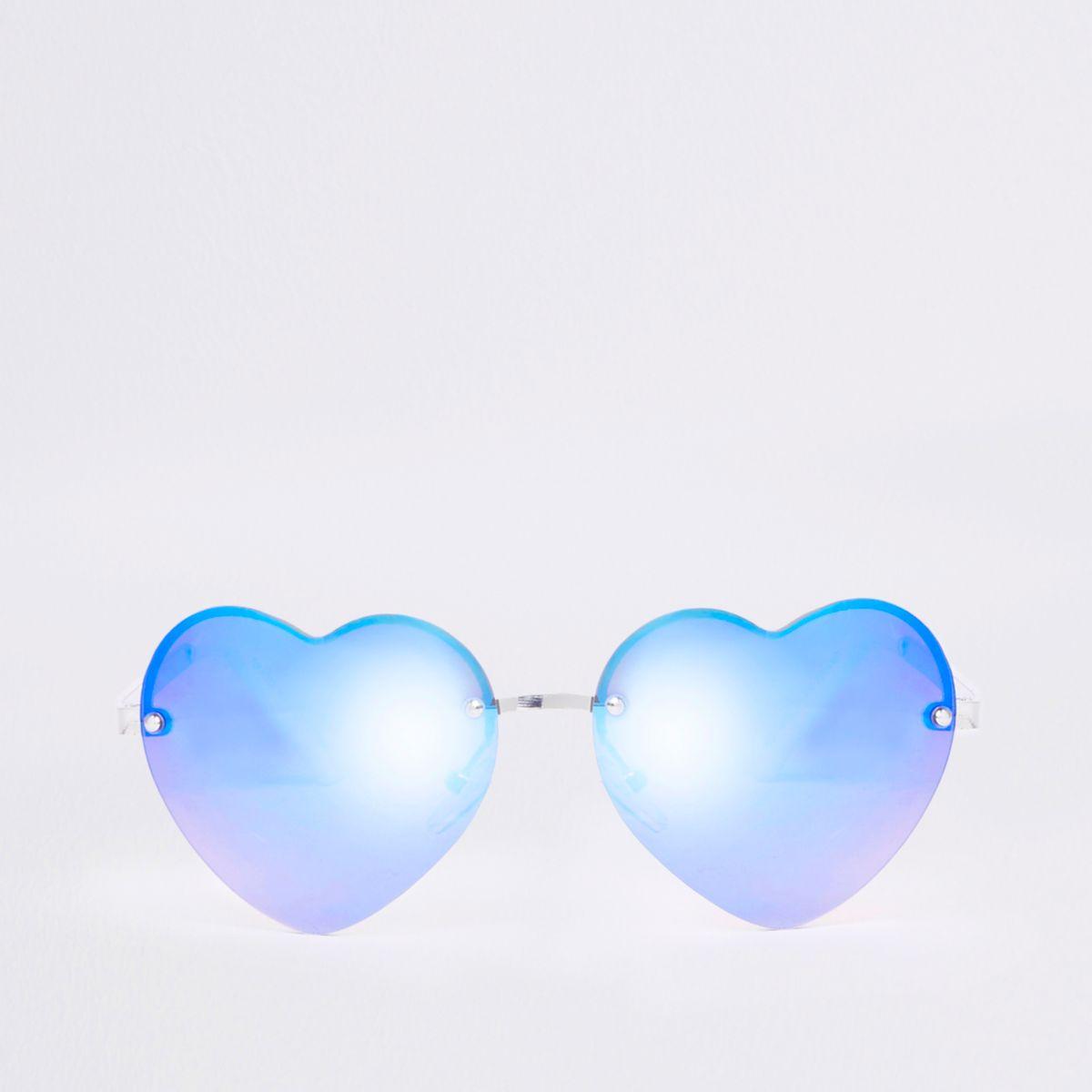 Girls blue heart mirror lens sunglasses